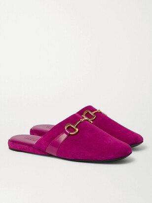 Gucci Pericle Horsebit Suede Slippers - Men - Pink