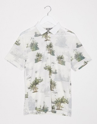 ASOS DESIGN polo with all over leaf print in linen mix