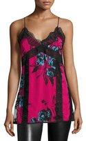 McQ Decon V-Neck Floral-Print Camisole Slip Top w/ Lace