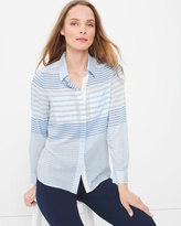 White House Black Market Long-Sleeve Button-Front Striped Shirt
