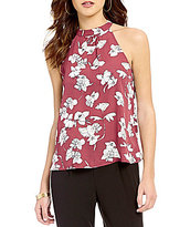 Soulmates Floral Print Fly-Away Scalloped Lace Back Top