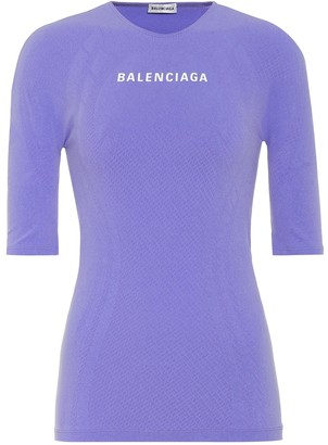 Balenciaga Logo athletic stretch-jersey top