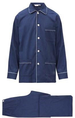Derek Rose Balmoral Brushed-cotton Pyjama Set - Navy