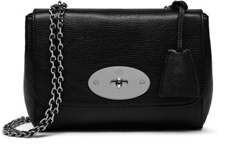 Mulberry Lily Black and Silver Toned Glossy Goat Leather