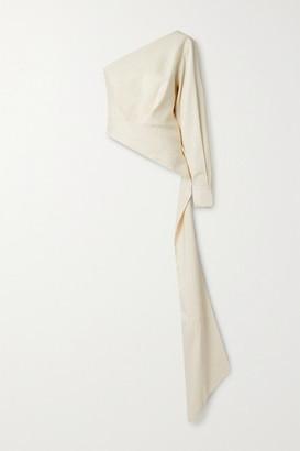 Brandon Maxwell One-shoulder Draped Woven Top - White