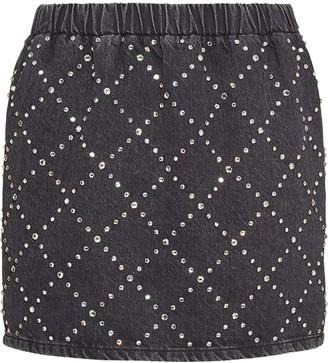 Miu Miu Embellished Denim Miniskirt