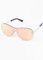 Missy Empire Una Rose Gold Iridescent Cross Detail Aviator Sunglasses