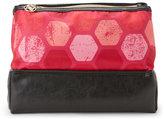 Adrienne Vittadini Pink Hexagon Dual Pyramid Beauty Bag
