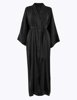 M&S CollectionMarks and Spencer Satin Lace Trim Long Dressing Gown