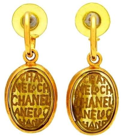 Chanel Logo Gold Tone Metal Glass Stone Dangle Stud Earrings