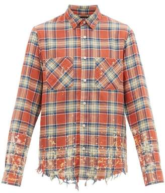 Amiri Distressed Logo-applique Plaid Cotton-blend Shirt - Mens - Red