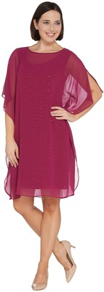 Bob Mackie Sparkle Knit Dress with Chiffon Caftan