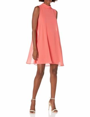 Sharagano Women's High Neck Sleeveless Dress with Chiffon Overlay