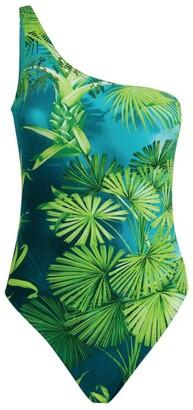 Versace Jungle Print One-Shoulder Swimsuit