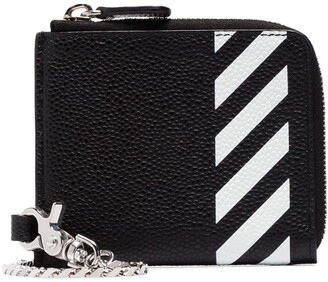 Off-White black and white leather wallet with chain