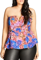 City Chic Stain-Glass Floral Print Peplum Top