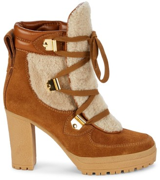 See by Chloe Karla Suede Shearling-Lined Heeled Hiking Boots