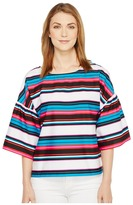 Vince Camuto Drop Shoulder Ruffle Sleeve Del Rio Stripe Blouse Women's Blouse