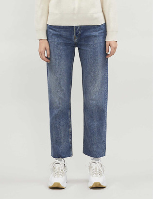 RE/DONE Stove Pipe frayed straight jeans