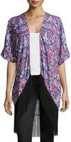 Romeo & Juliet Couture Kaleidoscope-Print Fringe-Hem Kimono, Purple/Multi