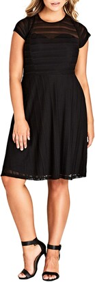 City Chic Textured Heart Fit & Flare Dress