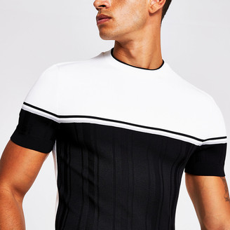 River Island Black colour block muscle fit knitted T-shirt