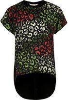 River Island Girls black leopard print layered T-shirt