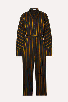 Palmer Harding palmer//harding - Solo Belted Striped Metallic Jacquard Jumpsuit - Charcoal