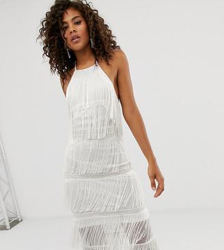 Asos Tall DESIGN Tall halter column fringe and lace midi dress-White