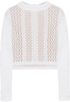Oscar de la Renta Crocheted Lace Top - White