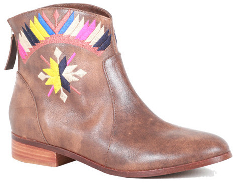 Cynthia Vincent Goldie Embroidered Flat Ankle Boot