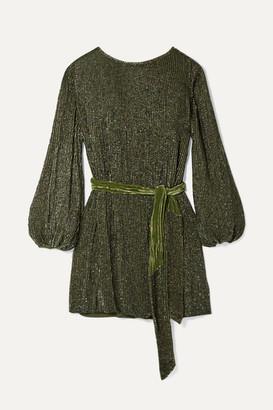 retrofete Grace Velvet-trimmed Sequined Chiffon Mini Dress - Army green