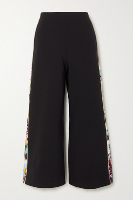 Mary Katrantzou June Cropped Paneled Crepe Wide-leg Pants - Black