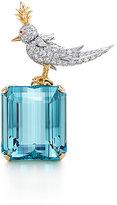 Bird on a Rock aquamarine brooch