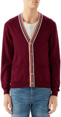 Gucci Men's Wool Cardigan Sweater w/ Stripes