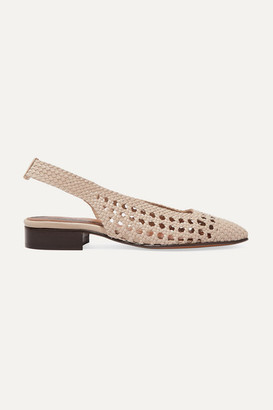 Souliers Martinez Tarragona Woven Leather Slingback Flats - Cream