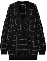 Balmain Checked Knitted Sweater - Black