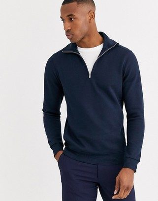 Jack and Jones half zip sweat in navy