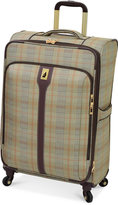 """London Fog Knightsbridge 25"""" Expandable Spinner Suitcase, Available in Brown and Grey Glen Plaid, Macy's Exclusive Colors"""