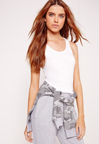 Missguided Jersey Racer Tank Top Top White