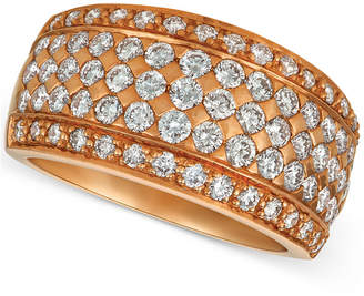 LeVian Le Vian Diamond Pave Wide Multi-Row Ring (1-1/2 ct. t.w.) in 14k Rose Gold
