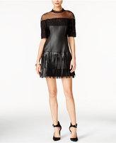 GUESS Rosalynn Mock-Neck Mixed-Media Dress