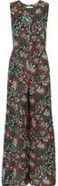 Maje Floral-print Crepe Jumpsuit - Emerald