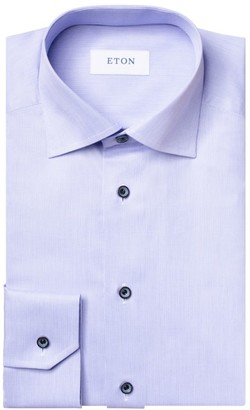 Eton Slim-Fit Textured Twill Dress Shirt