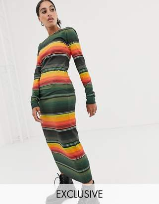 House of Holland exclusive sunset stripe long sleeve bodycon jersey dress-Multi