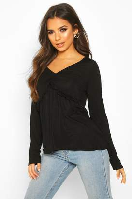 boohoo Ruffle V-Neck Long Sleeved Peplum Top