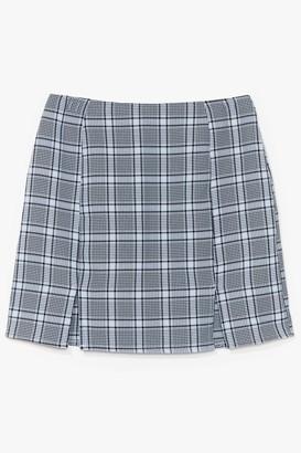 Nasty Gal Womens That Checks Out Slit Mini Skirt - Light Blue