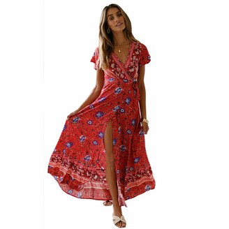 StarLifey Women Summer Casual Foral Print Deep V Neck Cotton Beach Short Sleeve Maxi Long Dresses Red
