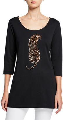 Joan Vass Sequin Tiger Scoop-Neck 3/4-Sleeve Tunic