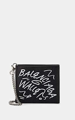 Balenciaga Men's Arena Leather Explorer Chain Wallet - Black